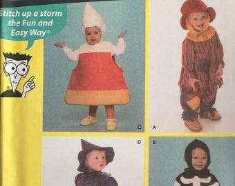 Simplicity 4467, Size 1/2-1-2-3-4, Toddlers' Costumes Pattern, UNCUT, Skeleton, Candy Corn, Witch, Scarecrow, Sewing Patterns for Dummies