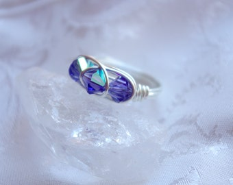 Purple Swarovski Ring - Triple Bead Ring -  Purple Crystal Ring -  Wirewrapped Ring - Bridal Party Jewelry - Gift for her