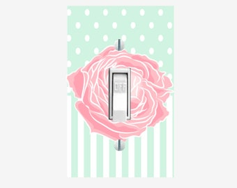 Mint and Pink Rose light switch cover girls bedroom wall decor