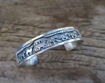 Vintage Narrow Overlay Sterling Silver Stacking Cuff. Native American Vintage Sterling Silver Cuff. Boho Bohemian Women's Jewelry. E0016