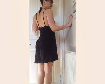 Women's crochet dress / black dress / little black dress / backless dress / beach dress / backless black dress / crochet black halter dress