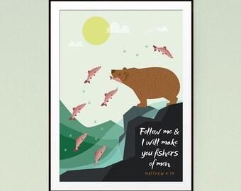Follow me & I will make you fishers of men - Matthew 4:19 - Nursery Decor, Childrens Wall Art, Kids Wall Art, Nursery Art - INSTANT DOWNLOAD