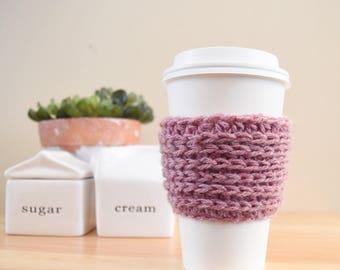 Crochet coffee cup sleeve, coffee cozy, valentine's day gift, coffee sleeve, knit cozy, cup sleeve, coffee cup warmer, cup cozy, tea cozy