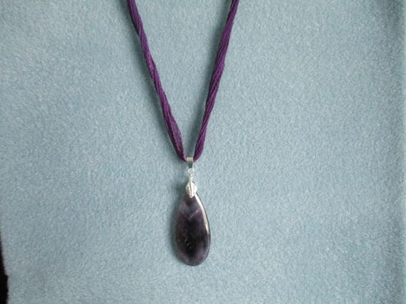 Amethyst Pendant Necklace on Silk Ribbon N622171