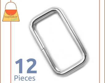 "1 Inch Rectangle Wire Loops / Rings, Nickel Finish, 12 Pieces, Purse Handbag Bag Making Hardware Supplies, Rectangular, 1"", RNG-AA011"