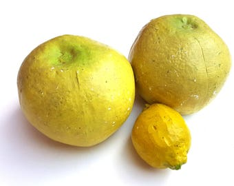 Vintage Fake Food Chalkware Yellow Grapefruits & lemon life size citrus fruits plaster refrigerator restaurant stand props kitchen display