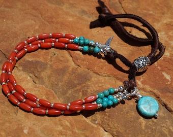 Orange Coral & Turquoise Bracelet, Southwestern, Leather Bracelet, Turquoise Bracelet, Boho, Western