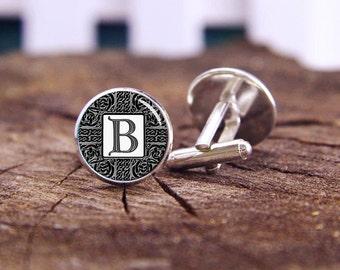 Silver Celtic Monogram cufflink, custom monogram cuff links, celtic monogrm, custom wedding cufflinks, groom cufflinks, tie bars, or set