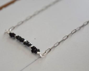 Raw Black Diamond Necklace~ Diamond and Sterling Silver Jewelry~ April Birthstone Necklace~ Dainty Jewelry~