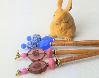 Pair of Hairsticks Flower Glass - Choice of Pink with Bird or Periwinkle Blue