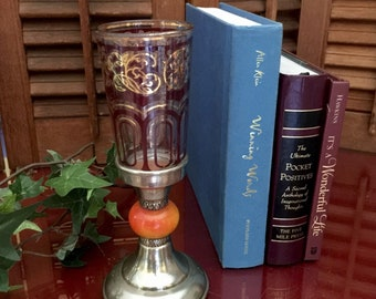 Victorian Wine Goblet Glass Metal Renaissance Festival Pagan Boho Chalice Champagne Cordial Cup Footed Drinkware Rustic Wedding Toast
