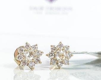 Real Rose Cut Diamond Earrings 0.60CT 14K Yellow Gold Rose Cut Diamond Flower Stud Earring Vintage Antique Look