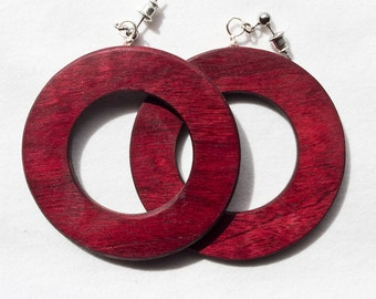 Purpleheart Wood Hoop Earrings - free shipping in the USA