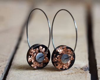 Resin Earrings, Gift For Her, Gold Leaf and Black Resin Earrings, Natural Resin Earrings in Oxidized Sterling Silver, Resin Jewelry