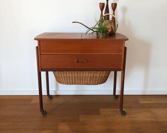 Mid century 50s 60s sewing of wood on rolls in style by Wegner
