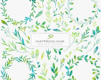 50 Watercolour Florals Digital Clip Art C06-Leaf Wreath-Watercolour Leaves-Wedding-Invitation-Laurels-Watercolour Wreaths-Botanicals