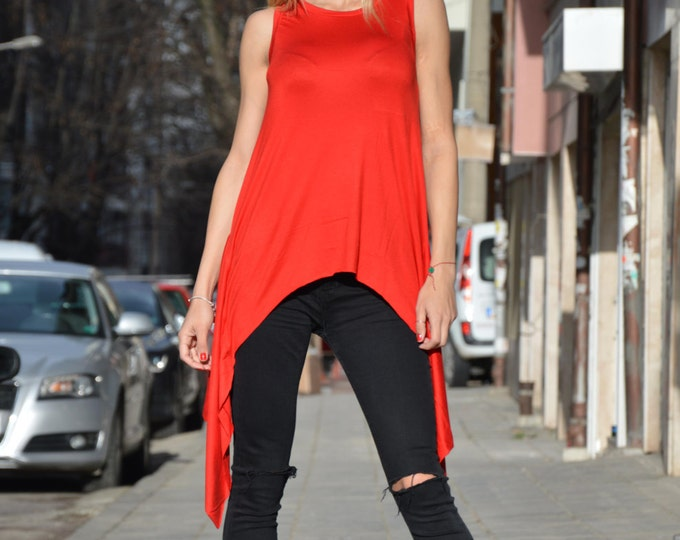 Red Loose Top, Maxi Plus Size Clothing, Asymmetrical Tank Top, Oversize Long Top, Extravagant Tunic, Summer Top by SSDfashion