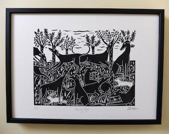 Hunting Dogs Original Lino Print