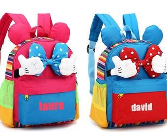 sac à dos cartable enfant personnalisable maternelle goûter , mickey mousse TAILLE:26 cm * 20 cm * 11 cm personnalisable avec prénom