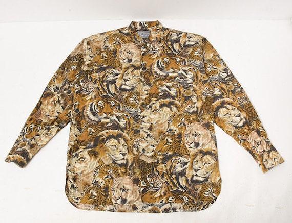 Jeans Shirt Tiger Theme Full Kenzo amp; Lion 90's Printed Button Up Shirt 1P8q5
