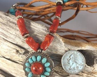 Corral and turquoise necklace
