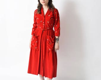 Dorian Velvet Hostess Dress with Strawberry Embroidery Vintage Shirtwaist Dress 28 S M