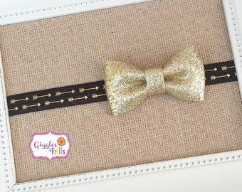 Black and Gold Baby Headband, Arrow Headband, Glitter Headband, Gold Infant Headband, Toddler Headband, Gold Arrow Headband, Photo Prop