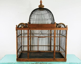 Large Antique Victorian Bird Cage with Dome and Finial//Wood and Metal Bird Cage//Local Pick-up Only