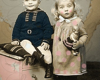 """TiffanyJane-Siblings with a touch of Whimsy Color--Altered 4 x 6"""" Image instant download instant ArT"""