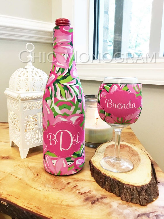 Personalized Mothers Day Gifts Wine Gift Set Monogrammed Wine Bottle & Wine Glass Insulator Wine Glass Hugger Lilly Inspired Wine Hugger
