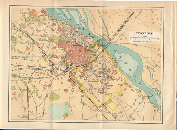 1924 Kanpur India Antique Map