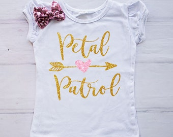Petal Patrol Shirt, Flower Girl Rehearsal Shirt, Mini Bridesmaid Shirt, Rehearsal Dinner Outfit, Flower Girl Gift, Flower Girl Top