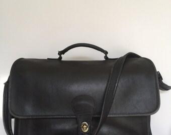 Black Leather Coach Briefcase Messenger Bag