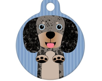 Pet ID Tag - Black Gray Dapple Dachshund Pet Tag, Dog Tag
