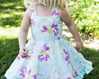 INSTANT DOWNLOAD- The Twirly Dress (Size 1 to 10) PDF Sewing Pattern and Tutorial