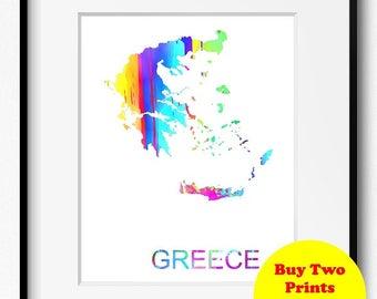 Greece Watercolor Map Art Print (525) Europe