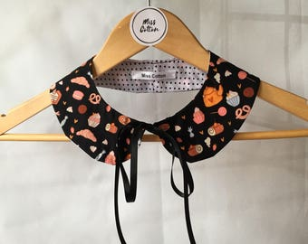 Detachable Double faced Peter Pan Collar Necklace. Round Collar Bib retro inspired with Bow.  gift Idea.