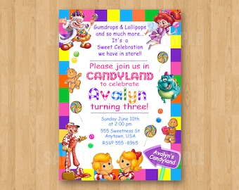 Free Candyland Invitation Template Etsy