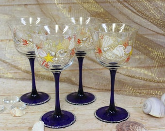 Conch and Coral Wine Glasses (Set of 4)