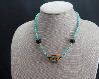 Glass and Turquoise Necklace