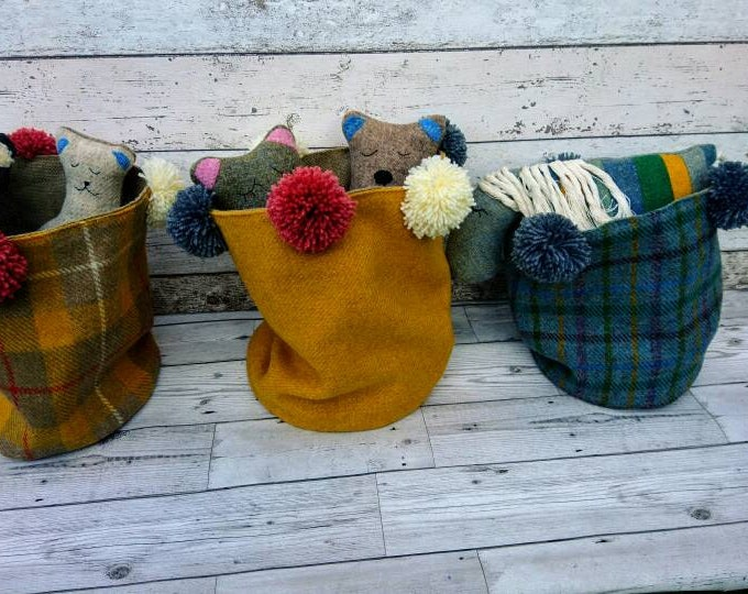 Hand Crafted Harris Tweed storage bag with wool pom poms