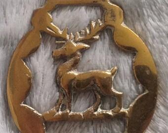 Vintage Cast brass metal Horse Brass Stag / Elk / Deer