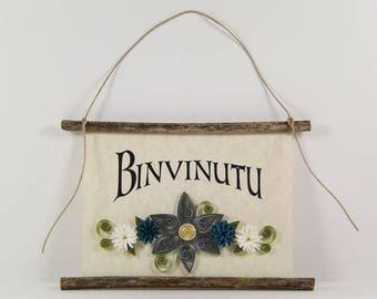 Binvinutu, Sicilian Welcome, Paper Quilled Sicilian Welcome Sign, 3D Paper Quilled Banner, Grey Blue White Decor, Sicily Gift, Sicily Decor