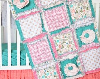 Coral Crib Bedding - Mint / Gold / Coral Nursery Modern Crib Bedding - Floral Crib Set Rag Quilt / Bumpers / Crib Sheet / Ruffle Crib Skirt