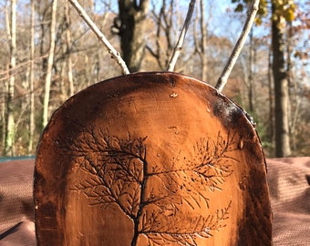 Rustic Folk Art Clay Vessel Branch Impression Print
