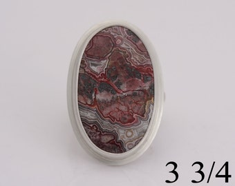 Crazy lace agate and sterling silver ring, size 3 3/4, number 725.