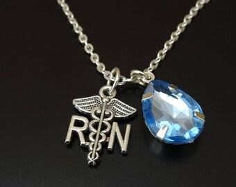Registered Nurse Necklace, Registered Nurse Charm, Registered Nurse Pendant, Registered Nurse Jewelry, RN Necklace, RN Gift, RN Graduation