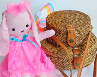 2 Peices. Round Straw Bags. Mummy & Me Round Rattan Bags. 1 Small. 1 Large Round Woven Bag.