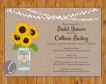 Sunflower Bridal Shower Invite String Lights Glass Jar flowers Burlap Wedding Shower Invitation RSVP Option Printable 5x7 Digital JPG (545)
