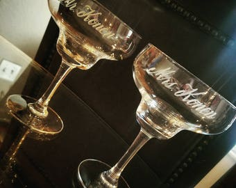 Margarita Glasses: Hand Engraved Personalized Mr. and Mrs. Margarita Glasses